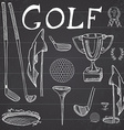 Golf Sport Hand drawn sketch set with golf clubs vector image vector image
