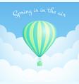 green hot air balloon cloud scape moitvation flyer vector image