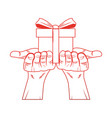 hands holding giftbox pop art red lines vector image vector image