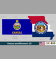 kansas and missouri united states vector image vector image