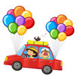 kids in car with colorful balloons attached vector image vector image
