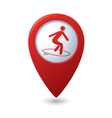 Map pointer with man on surf icon vector | Price: 1 Credit (USD $1)