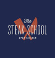 meat logo logo for steak school with icon chef vector image