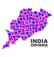mosaic odisha state map of square elements vector image vector image