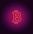 neon icon of red bitcoin vector image