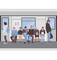 people inside a subway train passangers metro vector image vector image
