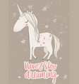 pink cartoon fairytale unicorn vector image vector image