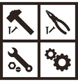 Pliers hammer wrench and gears icons vector image vector image