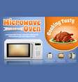 promotion banner with white microwave oven vector image vector image