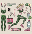 running woman and sports equipment set vector image vector image
