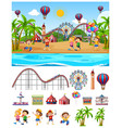 scene background design with kids at funfair