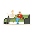seniors sitting on a wooden bench and reading vector image vector image