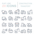 set line icons construction transport vector image