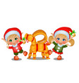 set of girl and boy santas helpers with straw vector image vector image