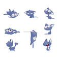 set of kind funky cats isolated on white vector image