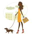 Silhouette woman with badgerdog vector image vector image