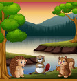 the animals are enjoying nature by the lake vector image vector image