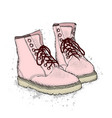 the image of the lace-up shoes on white vector image vector image
