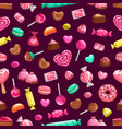 valentine day sweet candy cakes seamless pattern vector image