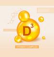 vitamin d3 complex and molecular diagram vector image