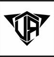 vr logo monogram with wings arrow around design vector image vector image