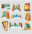 waterfalls set cascading streams of various shape vector image