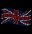waving united kingdom flag mosaic of boat steering vector image