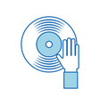 hand touch vinyl music disk entertainment vector image