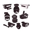 set icon of cctv cameras vector image