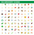 100 grocery icons set cartoon style vector image vector image