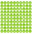 100 hi-tech icons set green circle vector image vector image