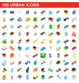 100 urban icons set isometric 3d style vector image vector image