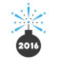 2016 fireworks detonator halftone icon vector image