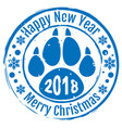 2018 happy new year and merry christmas stamp dog vector image