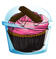 A transparent label with a chocolate cupcake vector image vector image