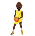 african american basketball player with ball vector image vector image