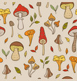 autumn pattern with forest mushrooms vector image vector image