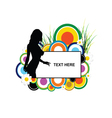 banner with girl silhouette in flower and grass vector image vector image