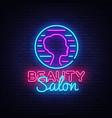 beauty salon sign design template vector image