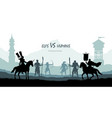 black silhouette of battle humans and elfs vector image vector image