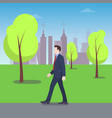 businessman walking in city park colorful banner vector image vector image