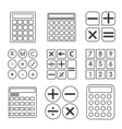 Calculator linear or outline icons set vector image vector image