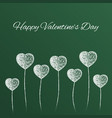 chalked heart shape balloons valentines card vector image