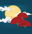 chinese folding fans on blue sky vector image vector image