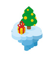 Christmas flying island Piece of land with tree vector image vector image