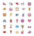 cute set of icons fantasy kawaii cartoon elements vector image