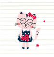 cute with funny cat vector image
