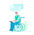 disabled worker chatting - flat design style vector image vector image