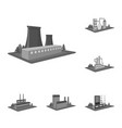 factory and plant monochrome icons in set vector image