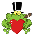 frog with a hat vector image vector image